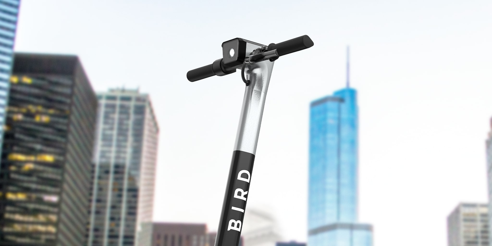 Bird Two Electric Scooter in front of Chicago Skyline
